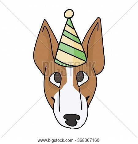 Cute Cartoon Bull Terrier Puppy Face With Party Hat Vector Clipart. Pedigree Kennel Show Dog Lovers.