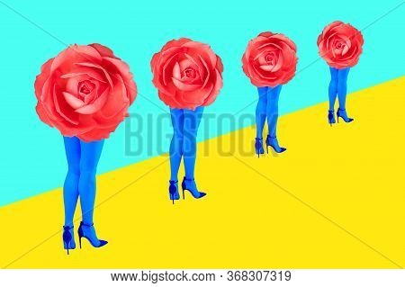 Rose Bud And Womans Beautiful Legs In Acid Color Tights And High Heels Shoes On A Colorful Backgroun