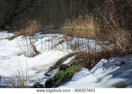 Beautiful River Rapids At Rönneå, Scania, Sweden Shot With Long Shutter Speed