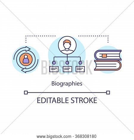 Biographies Concept Icon. Memoir Idea Thin Line Illustration. Life History Written In Book. Personal