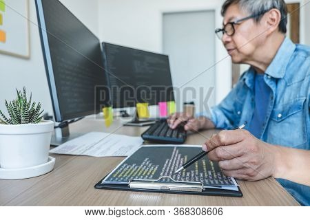 Senior Professional Programmer Working At Developing Programming And Website Working In A Software D
