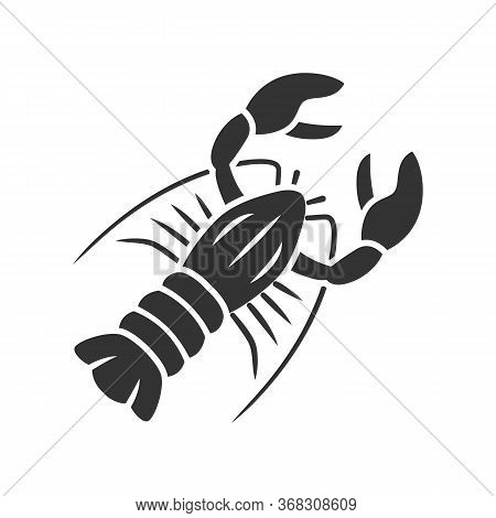 Lobster Glyph Icon. Seafood Restaurant Menu. Swimming Marine Animal With Pincers. Delicacy Food. Und