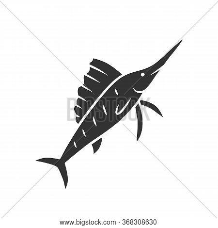 Sailfish Glyph Icon. Swimming Fish With Sharp Nose. Undersea Swordfish Animal. Fishing. Aquatic Crea