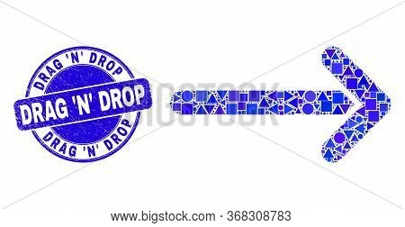 Geometric Arrow Right Mosaic Icon And Drag 'n' Drop Stamp. Blue Vector Rounded Scratched Stamp With