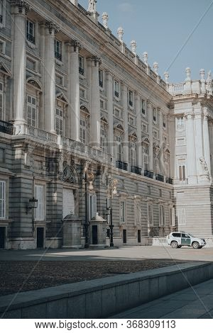 Madrid, Spain - January 26, 2020: Exterior Of Amudena Cathedral (catedral De La Almudena), A Catholi