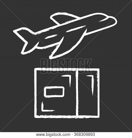 Delivery By Plane Chalk Icon. International Cargo Shipping. Air Freight. Transfer And Shipment Of Pa