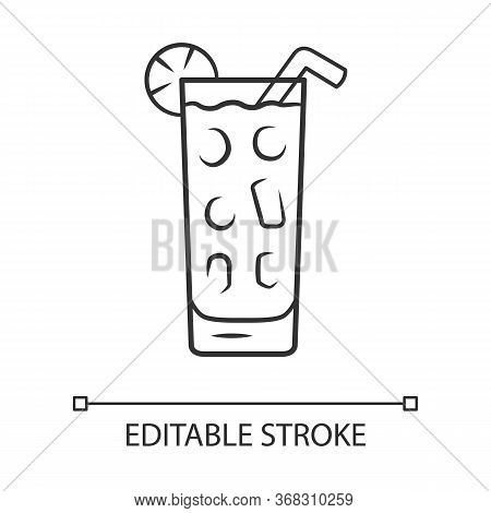 Cocktail In Highball Glass Linear Icon. Summer Icy Refreshing Soft Drink With Lemon And Straw. Gin A