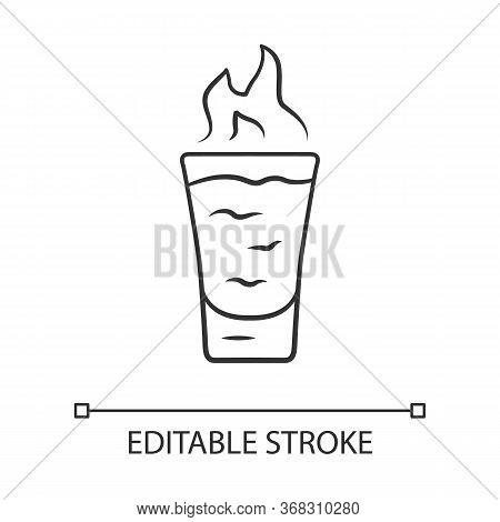 Flaming Shot Linear Icon. Glass With Beverage, Burning Fire. Drink With Flammable High-proof Alcohol