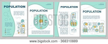 Population Brochure Template. Demographic Problem. Flyer, Booklet, Leaflet Print, Cover Design With