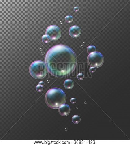 Realistic Transparent Soap Bubbles. Vector Illustration Eps10