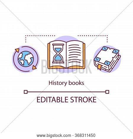 History Books Concept Icon. World Historical Literature Idea Thin Line Illustration. Ancient Times,