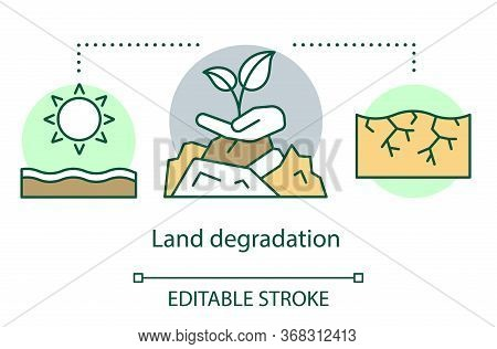 Land Degradation Concept Icon. Soil Erosion. Arid Region. Dry Hot Climate. Zone Of Extreme Agricultu
