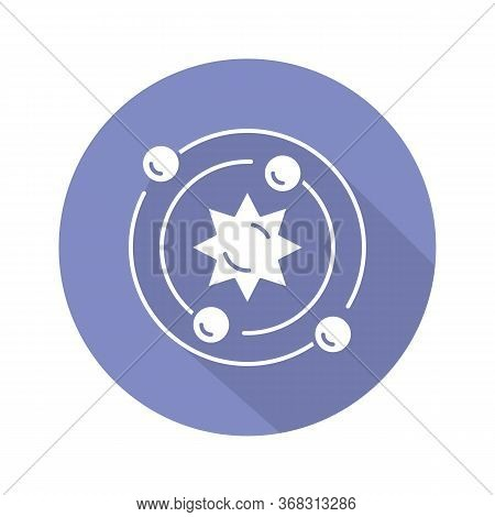 Astrophysics Blue Violet Flat Design Long Shadow Glyph Icon. Astronomy Branch. Study Of Universe, St
