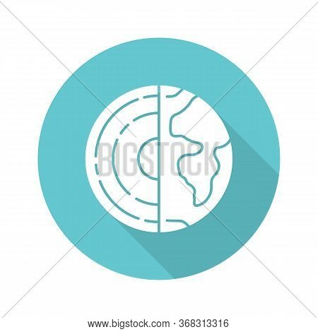 Geophysics Turquoise Flat Design Long Shadow Glyph Icon. Study Of Earth Crust Core. Inner Structure