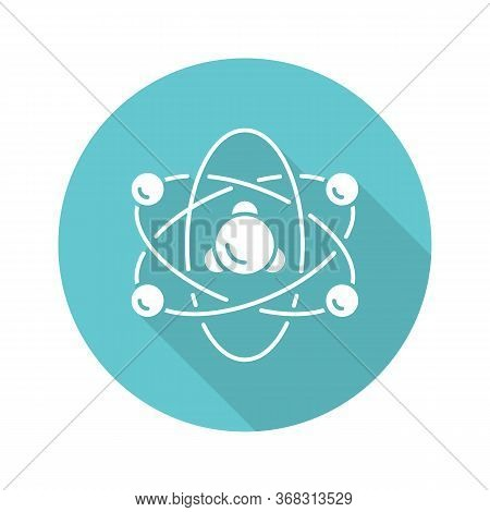 Nuclear Physics Turquoise Flat Design Long Shadow Glyph Icon. Atomic Structure Model. Electrons, Neu
