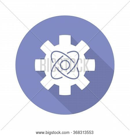 Engineering Physics Blue Violet Flat Design Long Shadow Glyph Icon. Cogwheel And Atom Structure Mode