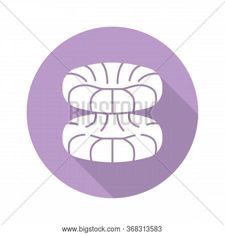 Quantum Physics Violet Flat Design Long Shadow Glyph Icon. Nuclear Energy Phenomenon. Futuristic Nan