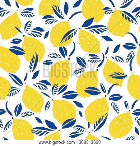 Vector Lemon Citrus Pattern. Graphic Modern Summer Repeating Design. Hand Drawn Bright Citrus Fruit