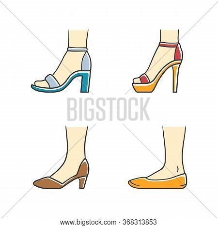 Women Formal Shoes Color Icons Set. Female Elegant High Heels Footwear. Stylish Ladies Classic Pumps