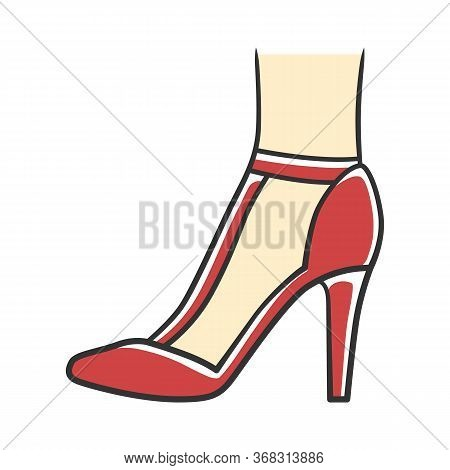 T-strap High Heels Red Color Icon. Woman Stylish Retro Footwear Design. Female Casual Shoes, Luxury