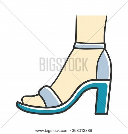 Ankle Strap High Heels Blue Color Icon. Woman Stylish Footwear Design. Female Casual Shoes, Luxury M