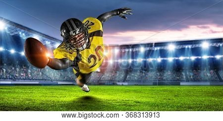 American football player in action
