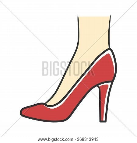 Stiletto Shoes Red Color Icon. Woman Stylish Formal Footwear Design. Female Casual Stacked High Heel
