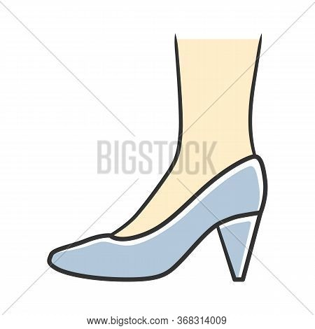 Cone Heel Shoes Blue Color Icon. Woman Stylish Formal Footwear Design. Female Casual Stacked High He