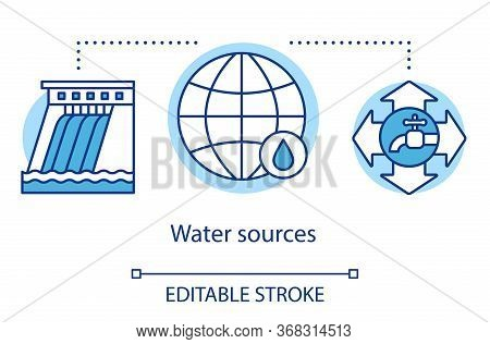 Water Sources Concept Icon. Framework For Allocating Water. Conscious Use Natural Resources. Environ