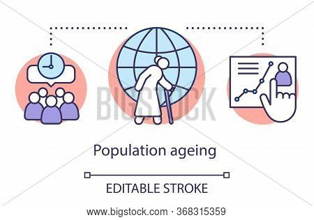Population Ageing Concept Icon. Demographic Problem. Rising Life Expectancy. Pensioners Social Prote