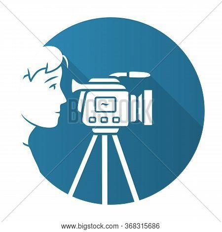 Cameraman Blue Flat Design Long Shadow Glyph Icon. Videorecording, Filming. Videographer, Operator W