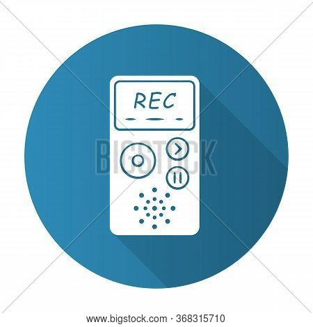 Dictaphone Blue Flat Design Long Shadow Glyph Icon. Portable Audio Recorder. Device For Recording In