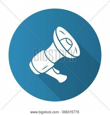 Mouthpiece Blue Flat Design Long Shadow Glyph Icon. Megaphone, Bullhorn. Breaking News, Announcement