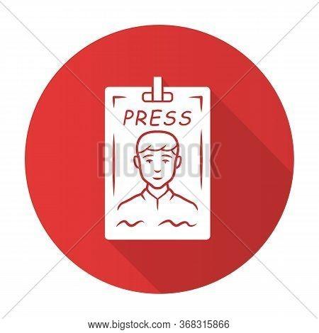 Press Pass Red Flat Design Long Shadow Glyph Icon. Journalist, Reporter Id Badge. Press Identificati