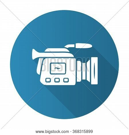 Camera Blue Flat Design Long Shadow Glyph Icon. Camcorder. Videotaping, Video Recording. Filmmaking