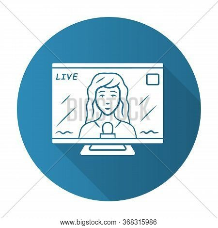 Reporter Woman On Tv Blue Flat Design Long Shadow Glyph Icon. Female Journalist Reporting Breaking N