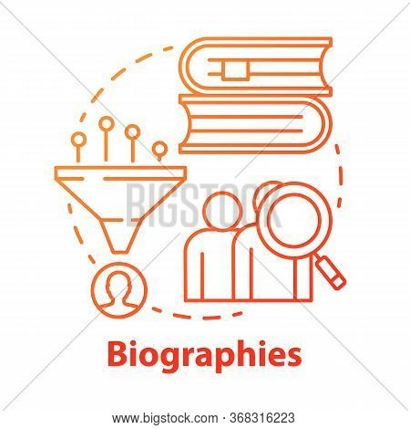 Biographies Red Concept Icon. Life History Idea Thin Line Illustration. Stories About Famous People.
