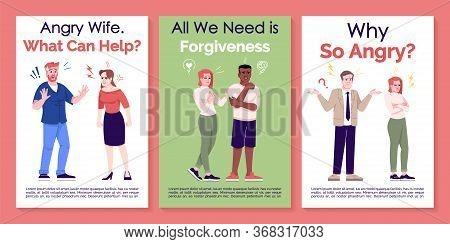Quarrel And Apologizing Brochure Template. Relationship. Flyer, Booklet, Leaflet Print, Cover Design