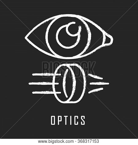 Optics Chalk Icon. Light Physics Branch. Optometry And Ophthalmology Scientific Research. Light Rays