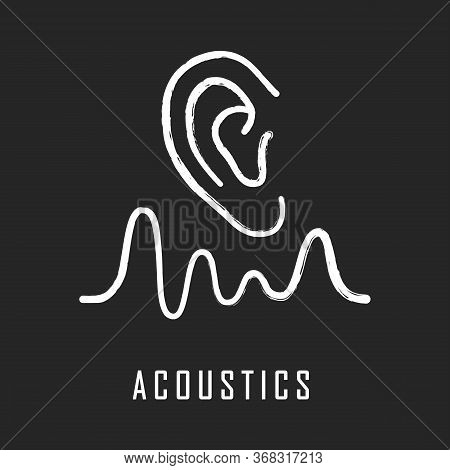 Acoustics Chalk Icon. Sound Transmission And Hearing Effect. Physics Branch. Soundwave Frequency, Wa