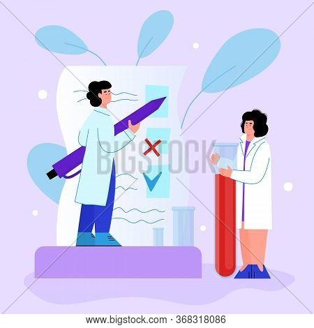 Blood Test And Hematology Research With Doctors Cartoon Vector Illustration.