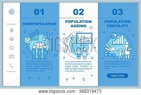 Population Onboarding Mobile Web Pages Vector Template. Population Fertility. Responsive Smartphone