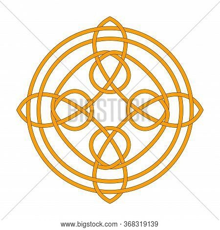 Irish Celtic Shamrock Knot. Symbol Of Ireland. Traditional Medieval Frame Pattern Illustration. Scan