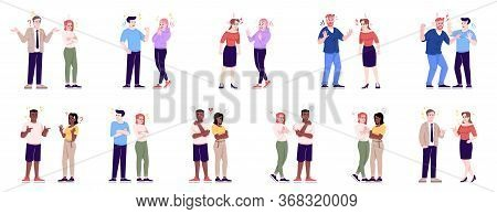 People Behavior Flat Vector Illustrations Set. Couples Quarrel, Sympathize, Argue, Make Friends. Men