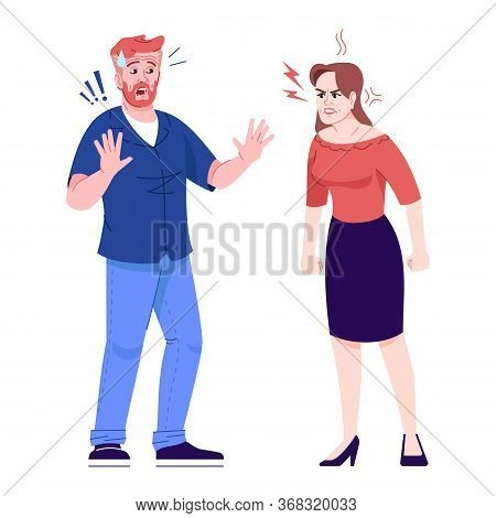 Couple Quarrel Flat Vector Illustration. Emotional Family Conflict. Domestic Violence Against Men. A