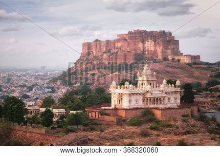 Tourist landmarks of Jodhpur - Jaswanth Thada mausoleum and Mehrangarh fort, Jodhpur, Rajasthan, India