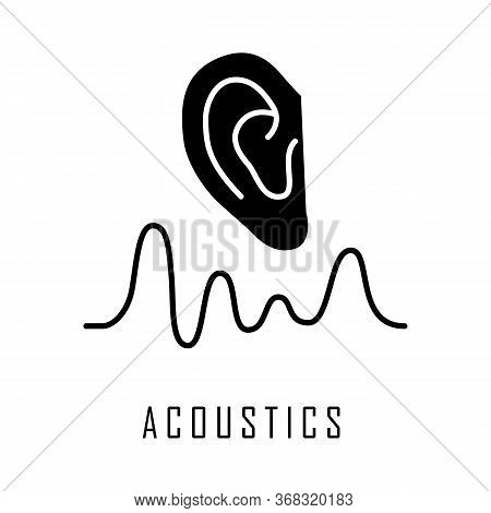 Acoustics Glyph Icon. Sound Transmission And Hearing Effect. Physics Branch. Soundwave Frequency, Wa