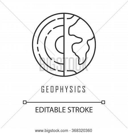 Geophysics Linear Icon. Study Of Earth Crust And Core. Inner Structure And Composition Of Earth Lith