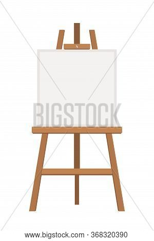 Blank Painting Easel Flat Vector Illustration. Empty New Canvas On Wooden Tripod. Professional Artis