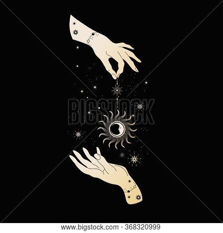 Magical Hands. Wo Hands, Planets, Sun And Moon.